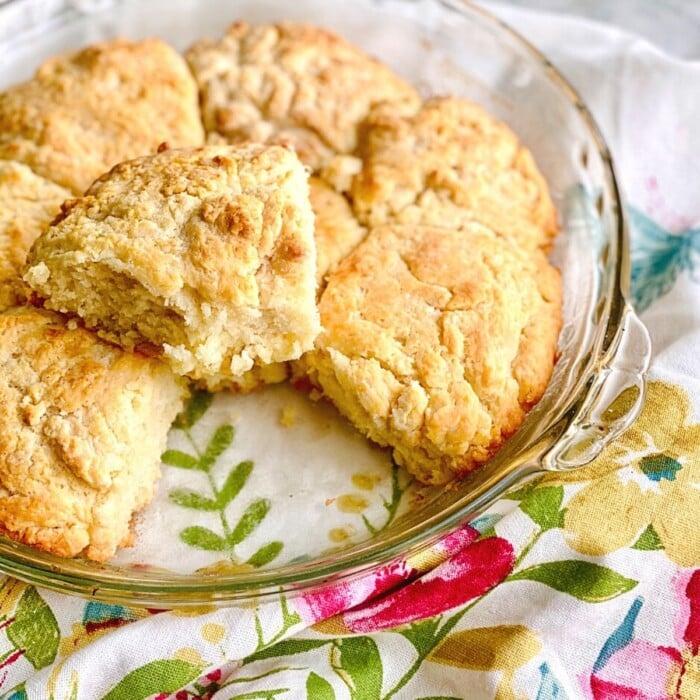 buttermilk biscuits in a pie plate