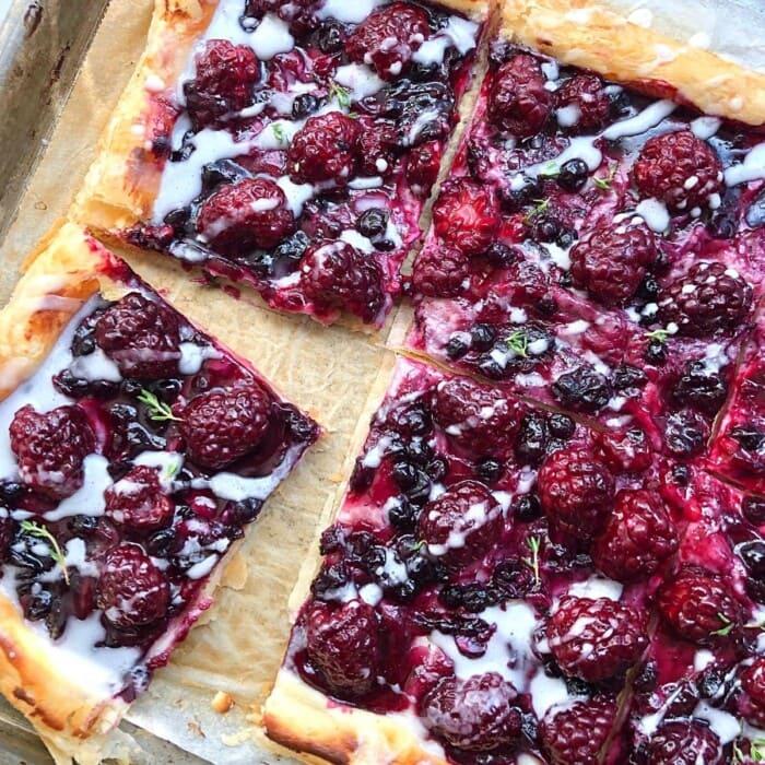 blueberry danish on a sheet pan