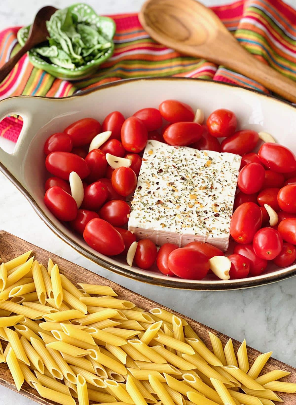 ingredients needed for baked feta and tomato pasta.