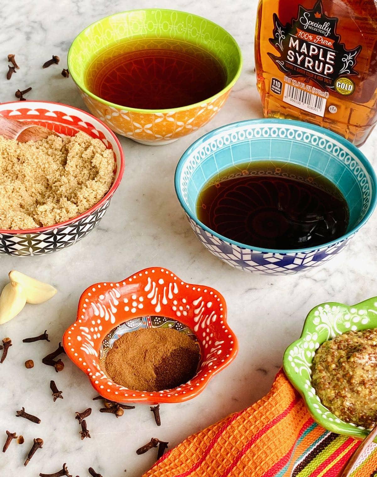 ingredients needed for brown sugar ham glaze.