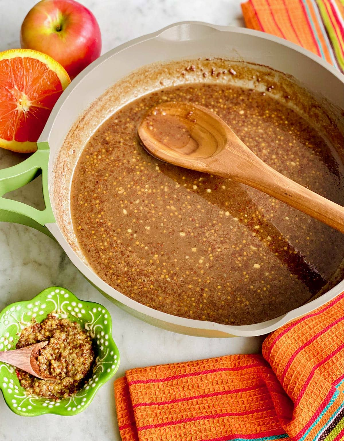 brown sugar glaze in a skillet.
