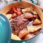 corned beef and cabbage in a dutch oven.