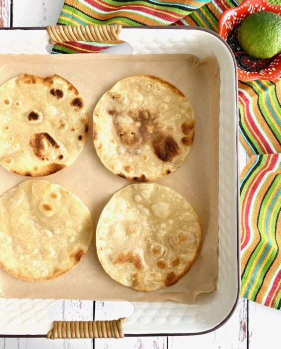 corn tortillas that have been fried.