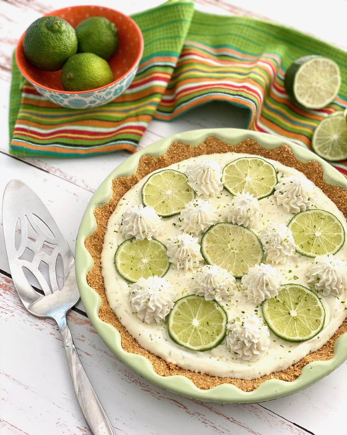 pie with key limes and whipped cream on top.