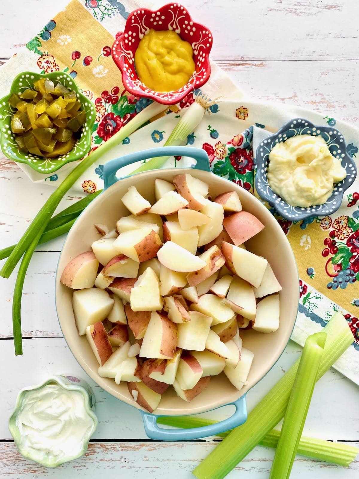 ingredients needed to make red skin potato salad.