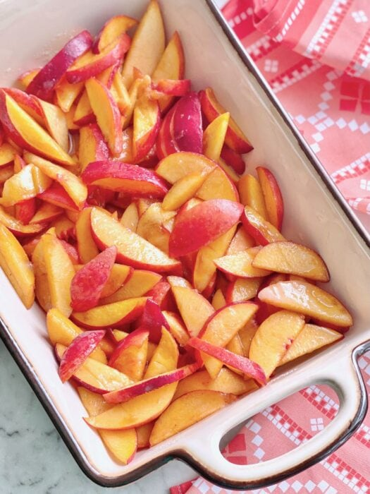 peaches ready to go into the oven.
