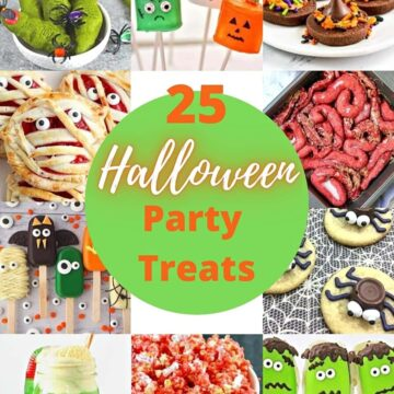 small collage of halloween party treats for round up.