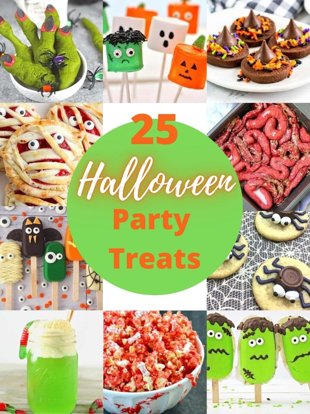 image showing pictures of 25 halloween party treats