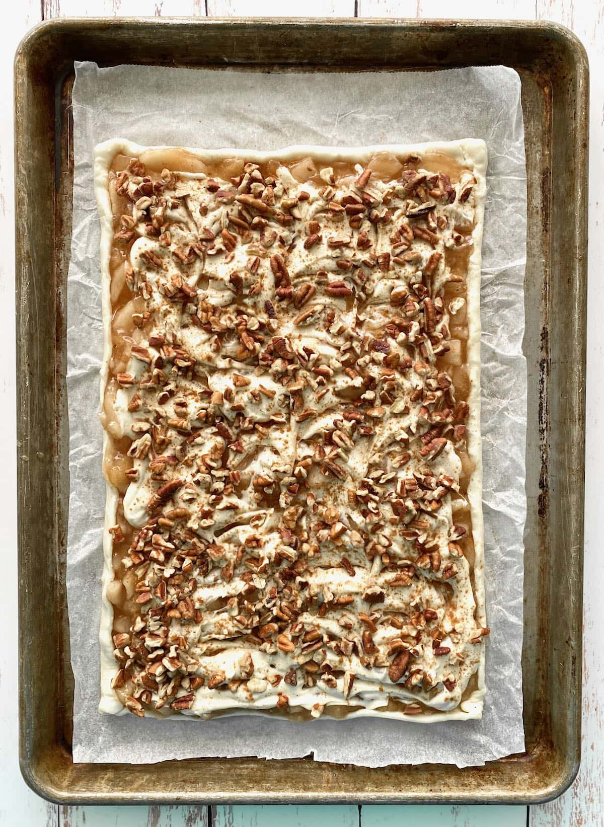 pecans added on top of puff pastry.