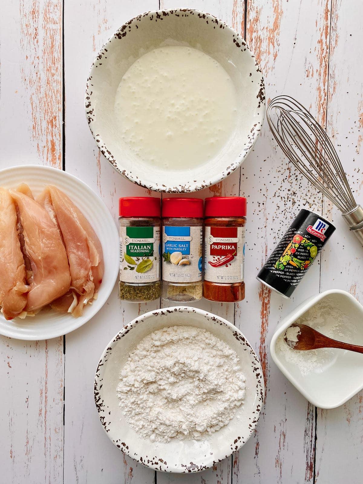 ingredients needed for buttermilk chicken tenders recipe.