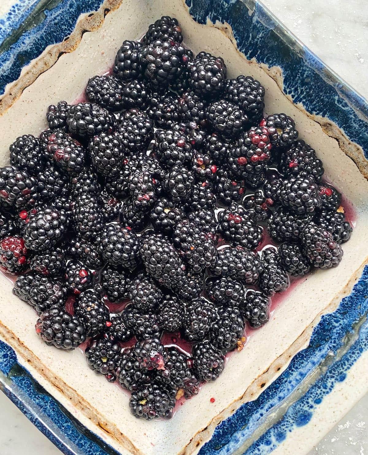 fresh blackberries in a blue dish.
