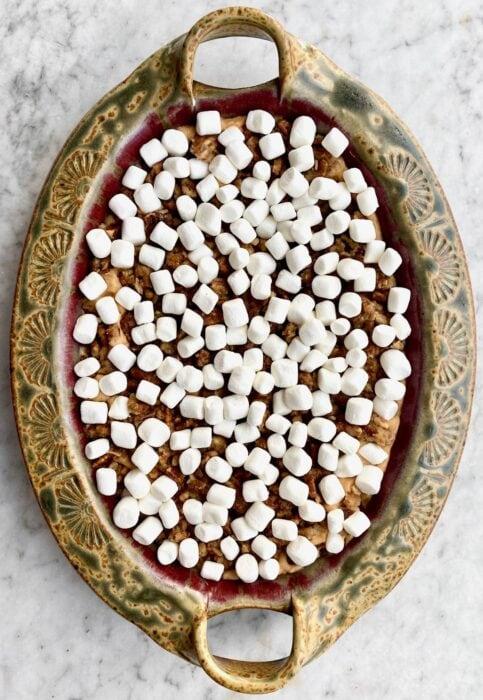 marshmallows on top on casserole.