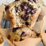 close up of chocolate chips melting inside muffin.