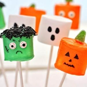 marshmallows made in the shape of halloween characters.