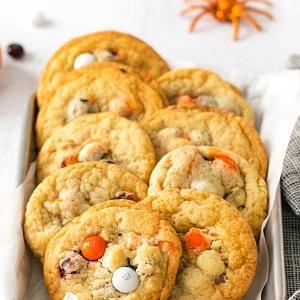 cookies made with M & M's in orange and white.