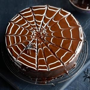 chocolate cake with spider web piped on top.