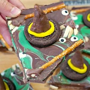witches hats made of chocolate melting into candy bark.