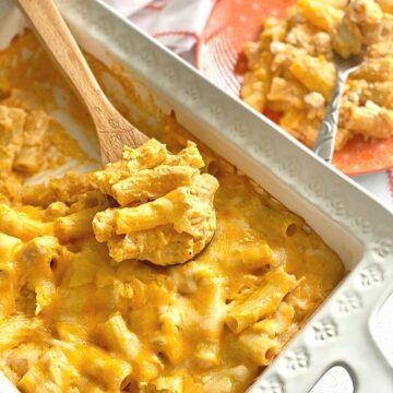 white casserole dish filled with buffalo chicken pasta.