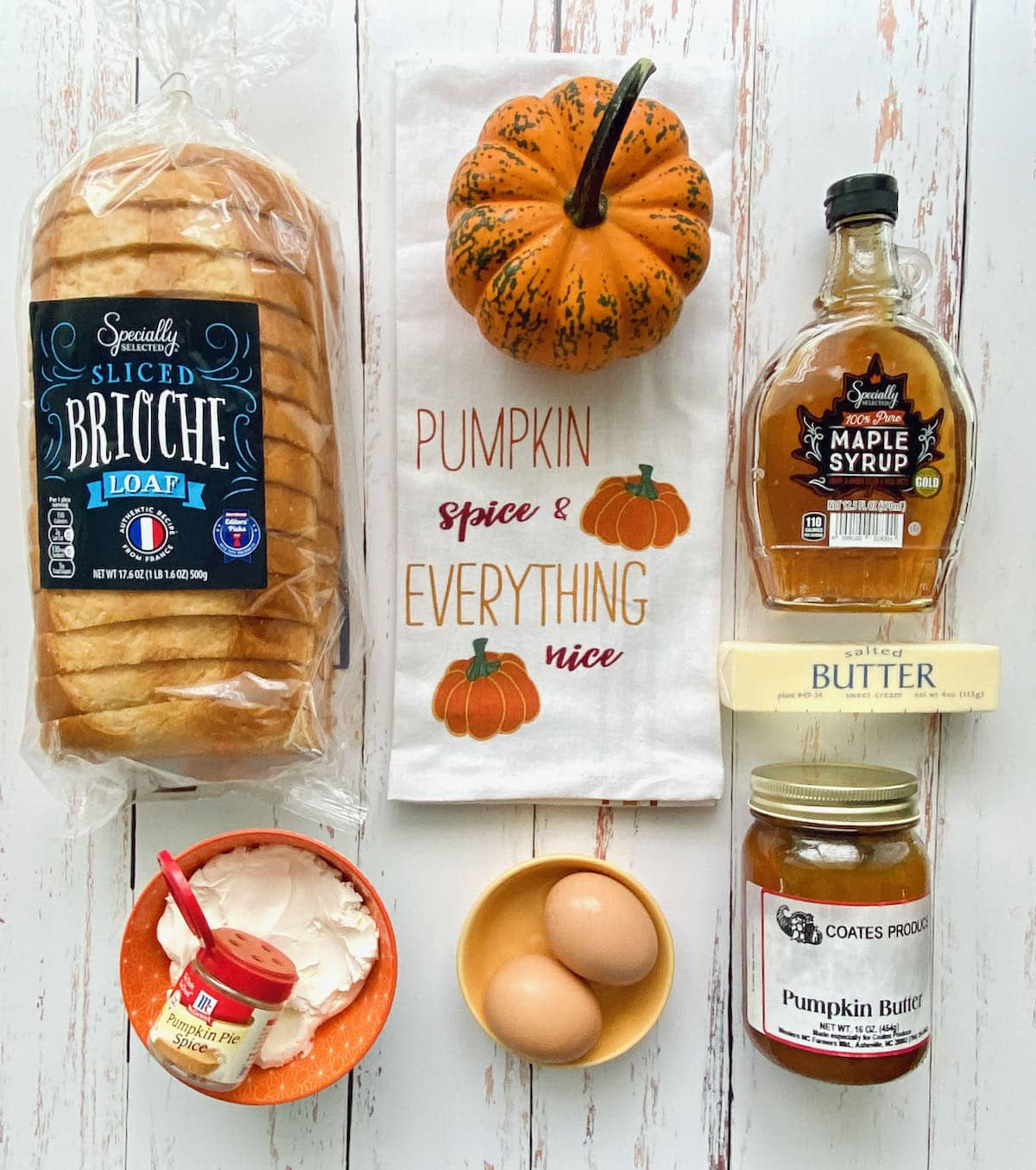 ingredients needed for pumpkin spice french toast.