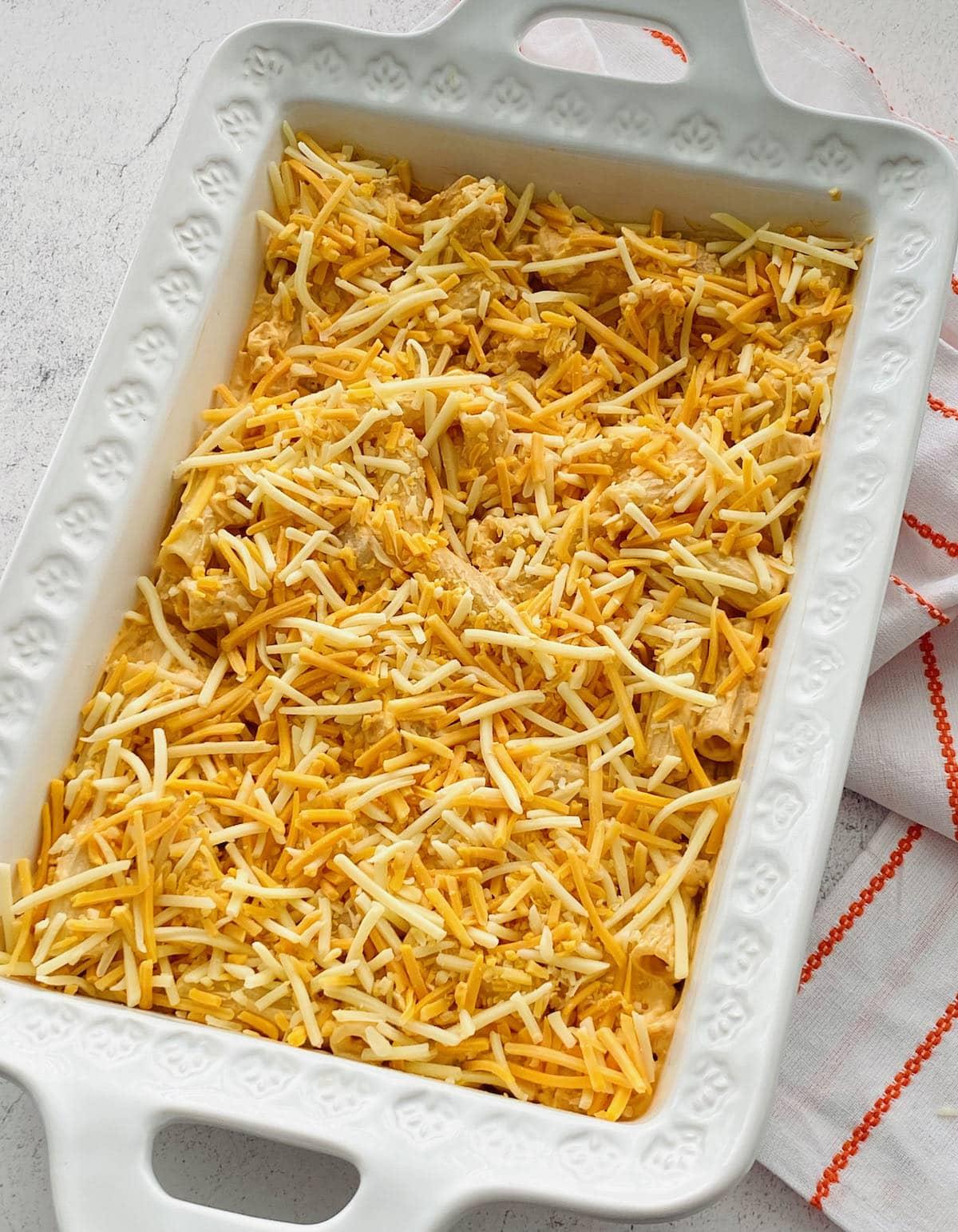 cheese spread over buffalo chicken pasta bake.